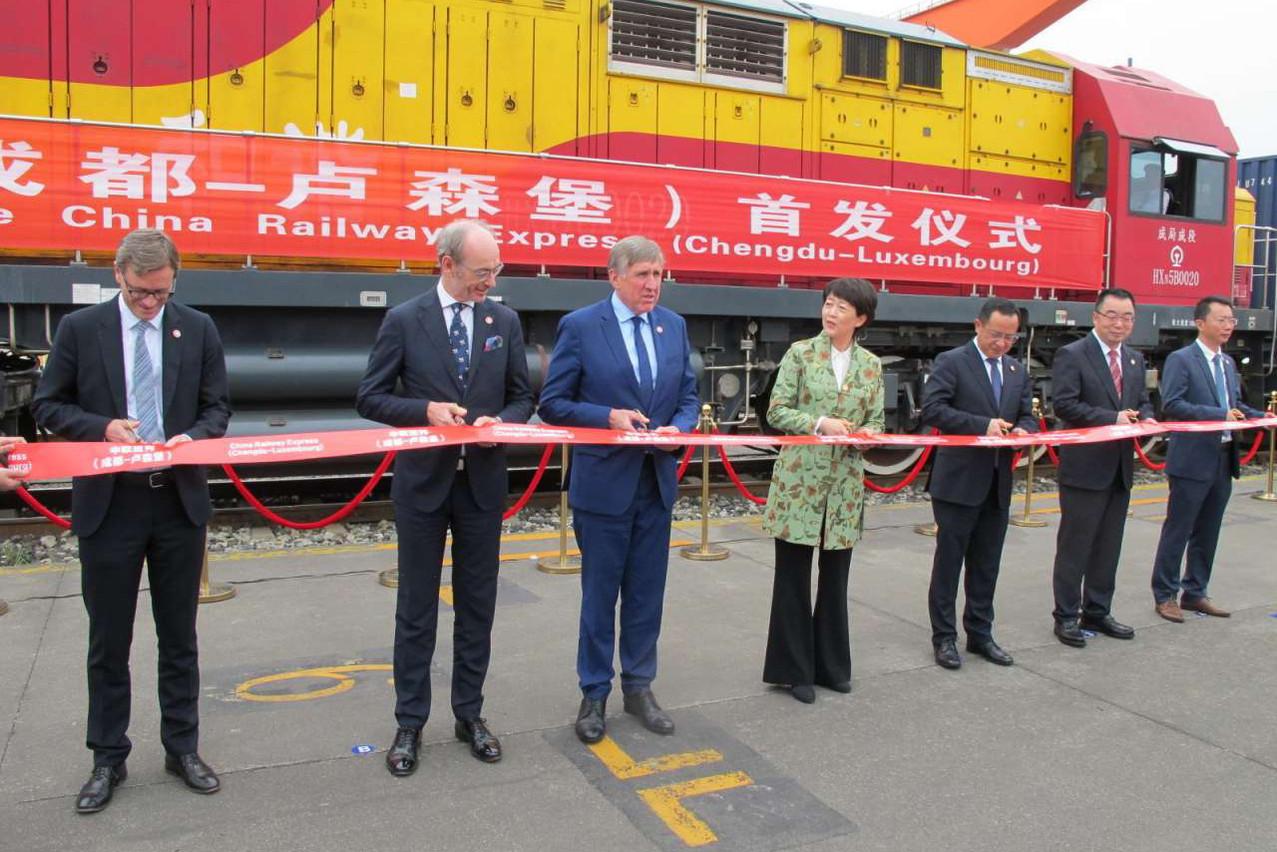 François Bausch était en Chine, au départ du premier train de marchandises vers Bettembourg. (Photo: SIP)