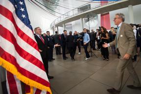 AvecRandolph Evans (ambassadeur des États-Unis au Luxembourg), lors de l'anniversaire de l'Indépendance des États-Unis en juillet2019 à la Philharmonie. ((Photo: Nader Ghavami / Archives))