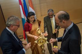 En 2018, avec Michel Wurth (alors président de la Chambre de commerce), Gaitri Issar Kumar (ambassadrice d'Inde en Belgique et au Luxembourg) et Sudhir Kumar Kohli (président de l'IBCL) lors du 70e anniversaire des relations bilatérales avec l'Inde. ((Photo: Nader Ghavami / Archives))