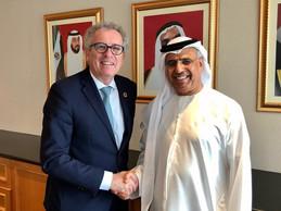 Pierre Gramegna avec Obaid Bin Humaid Al Tayer, ministre d'État aux Affaires financières des Émirats arabes unis. ((Photo: SIP / Jean-Christophe Verhaegen))