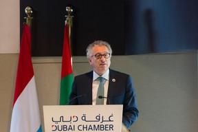 À la Chambre de commerce et d'industrie de Dubaï, Pierre Gramegna a évoquél'avenir du secteur financier européen après le Brexit, et le développement de la finance islamique. ((Photo: SIP / Jean-Christophe Verhaegen))