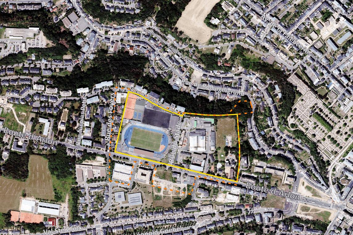 Le«WunnquartierStade» se situe le long de la route d'Arlon, sur l'emplacement de l'actuel Stade Josy Barthel, entre autres. (Illustration: Ville de Luxembourg)