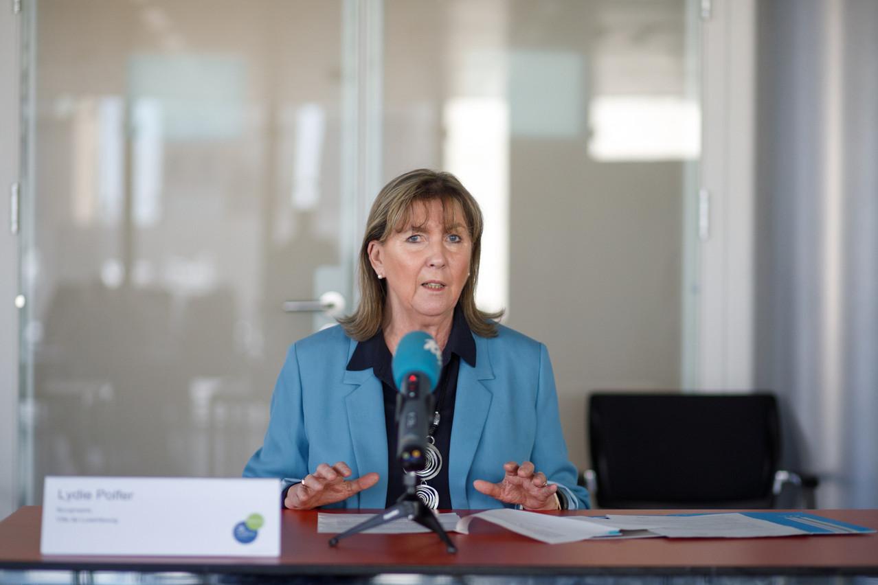 Lydie Polfer, bourgmestre de la Ville de Luxembourg, lors de la conférence de presse du 27 avril 2021. (photo: Matic Zorman / Maison Moderne)