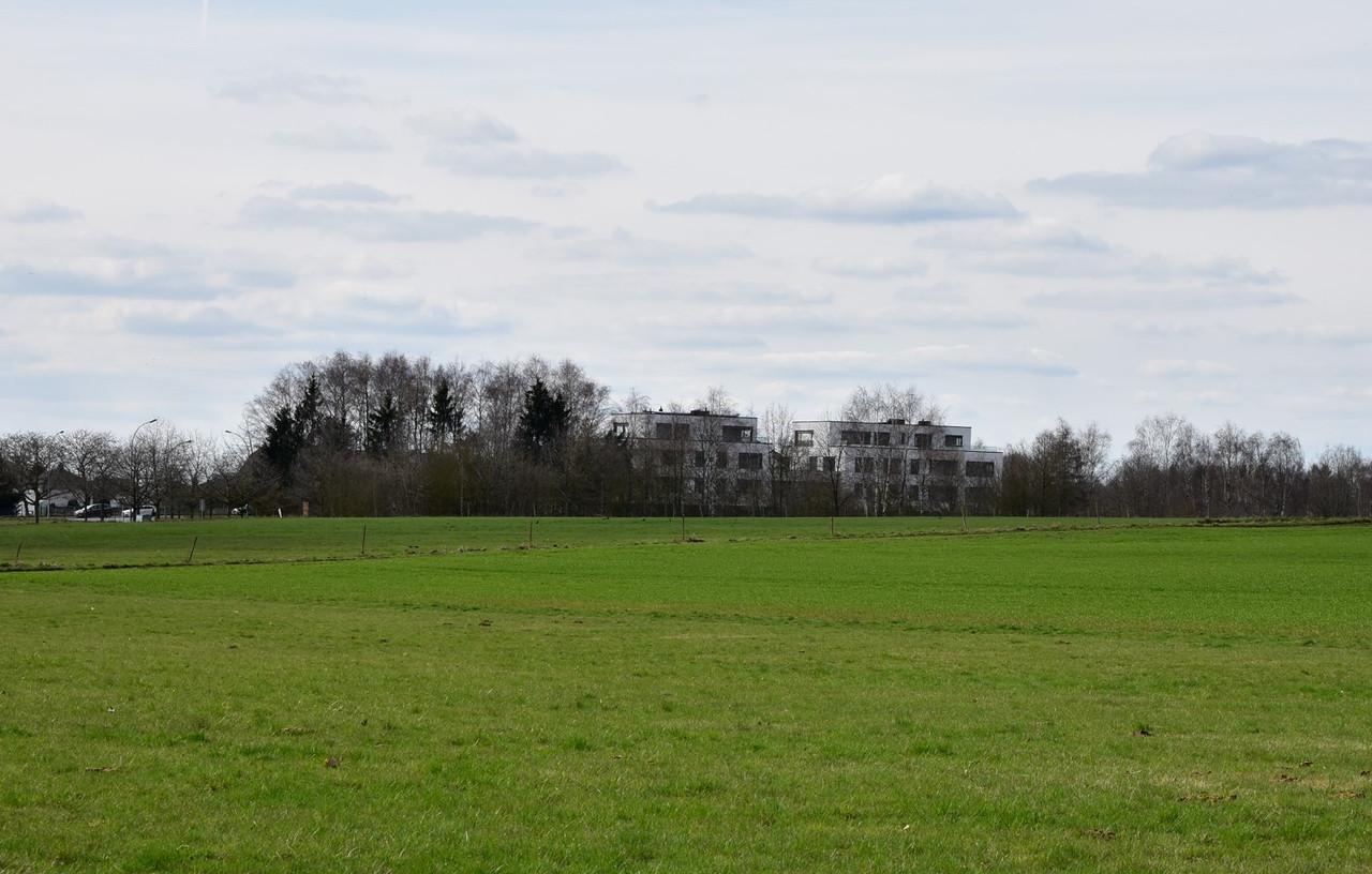 Ce qui est actuellement un vaste champ sera prochainement un nouveau quartier dénommé Laangfur. (Photo: Immobel)