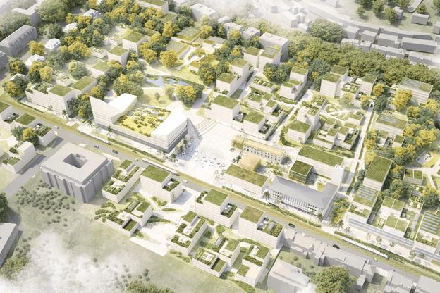 Le projet «Cityzen» s'appuie sur une trame boisée existante, la renforce, et développe des quartiers à échelle humaine. (Illustration: Beiler François Fritsch)