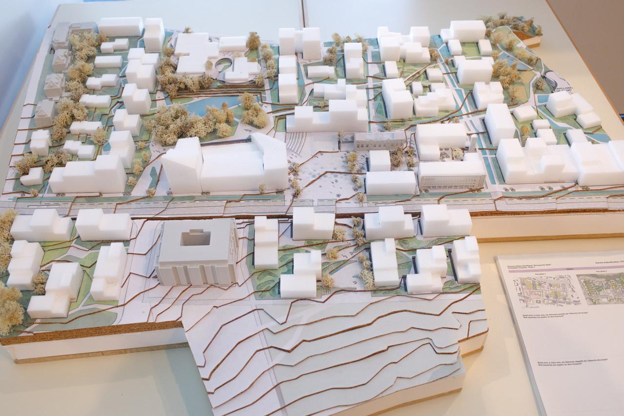 Vue de la maquette du projet, présentée dans le cadre de l'exposition du bâtiment «Rocade» de la Ville de Luxembourg. (Photo: Matic Zorman/Maison Moderne)