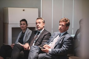Marine de Bouchony (CNP Patrimoine), Matthieu Croissandeau (Maison Moderne) et Nicolas Mackel (Luxembourg for Finance). ((Photo: Patricia Pitsch / Maison Moderne))