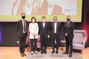 Olivier Carré (PwC Luxembourg), Julie Becker (Bourse de Luxembourg), Claude Marx (CSSF), Gast Junker (Elvinger Hoss Prussen) et Jim Kent (Maison Moderne) ((Photo: Simon Verjus/Maison Moderne))
