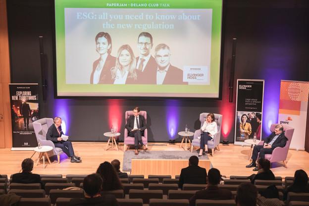 Jim Kent (Maison Moderne), Olivier Carré (PwC Luxembourg), Julie Becker (Bourse de Luxembourg) et Claude Marx (CSSF) (Photo: Simon Verjus/Maison Moderne)