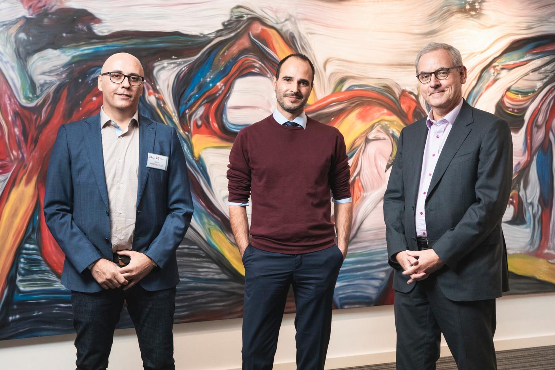 Roger Martinez-Dolz, Christos Christou (Médecins Sans Frontières) et Bruno Houdmont (Degroof Petercam) (Photo: Simon Verjus/Maison Moderne)