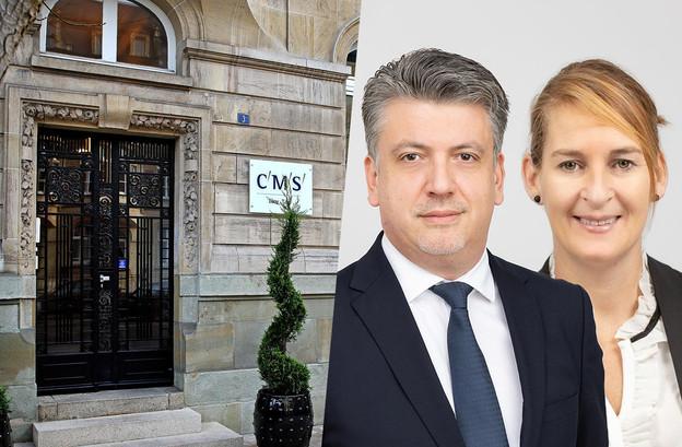 FrédéricFeyten, managing partner, etBénédicteBalbeur, responsable des ressources humaines. (Photos: CMS Luxembourg. Photomontage: Maison Moderne)