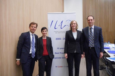 Le groupe des formateurs: Stanislas Chambourdon (KPMG), Hélène Dupuy (EFG), Anne-Marie Nicolas (Loyens & Loeff), Michael Schweiger (RBC). (Photo: ILA)