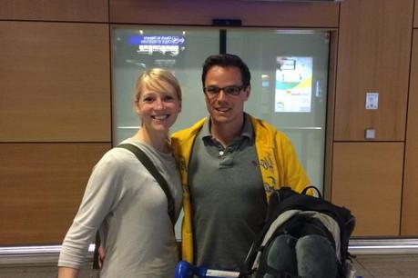 Katharina et son compagnon Normen ont eu droit à un accueil VIP en tant que 2.000.000e voyageur de l'année. (Photo: Lux-Airport)