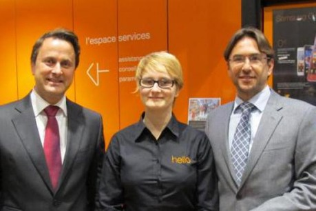 Xavier Bettel, bourgmestre de la Ville de Luxembourg; Véronique Krebs, responsable du magasin; Patrick Ittah, DG d'Orange Lux. (Photo: Orange)