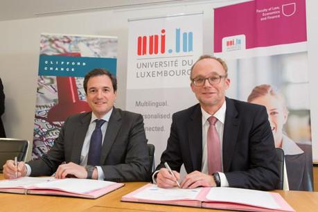 Renouvellement du partenariat avec Clifford Chance en matière de concours de plaidoirie (Photo: Université de Luxembourg)