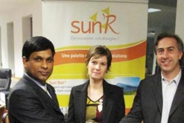 Mr.B. Veerraju Chaudary (COO, CTO CNPV), Ms.Emeline Etienne (Director Operations, SunR) and Mr. Antoine Nogier (CEO, SunR) (Photo: CNPV Solar Power)