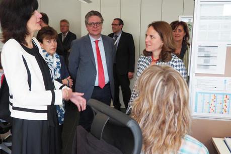 Gaby Wagner, directrice adjointe de l'Adem; Mariette Scholtus, directrice de l'Adem; Yves Piron, directeur de l'OLAI; Corinne Cahen, ministre de la Famille et de l'Intégration  (Photo: Adem)