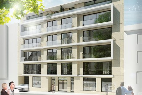 Situé au cœur de la capitale, au 40 rue Goethe, l'immeuble Goethe accueillera 20 logements de 45 à 140m2, 2 unités de bureaux et 31 places de parking souterrain. (Photo: Eaglestone)