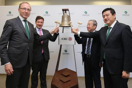 From left to right: Robert Scharfe, CEO of Luxembourg Stock Exchange; Nicolas Mackel, CEO of Luxembourg for Finance; Huang Changqing, Chinese ambassador to Luxembourg; Chen Fei, general manager of ICBC Luxembourg Branch. (Photo: ICBC)