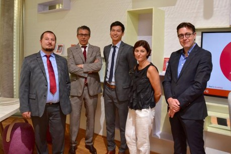 Nicolas Gavoille (PwC Luxembourg), Laurent Rouach (PwC Luxembourg), Sardar Azimov (Cerway), Emmanuelle Abeya (Moselis), François Thiry (Polaris Architects - CNCD).  (Photo: PwC Luxembourg)