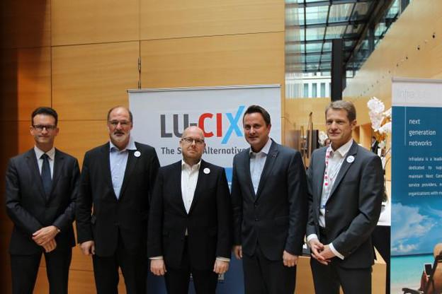 Carlo Thelen, Roger Lampach, Marco Houwen, Xavier Bettel, and Claude Demuth. (Photo: Lu-CIX)