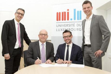 Romain Raux (Service Campus Carrières) Eric Tschirhart (Université du Luxembourg), Gilles Risser et Yannick Frank (Moovijob) (Photo: Université du Luxembourg)