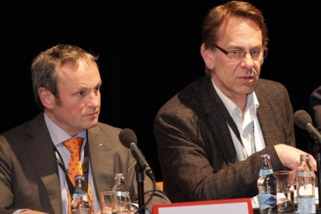Fernand Ernster (à gauche) prend la présidence de la clc, toujours dirigée par Thierry Nothum. (Photo: paperJam archives)