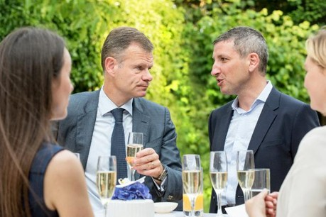 Philippe Sergiel, partner, PwC (left) with Dmitry Larin, head of RCB Bank, Luxembourg Branch. (Photo: RCB Bank)