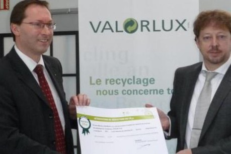Ernest Boever, directeur général de Valorlux et Claude Steinmetz, directeur de Luxlait. (Photo : Valorlux)