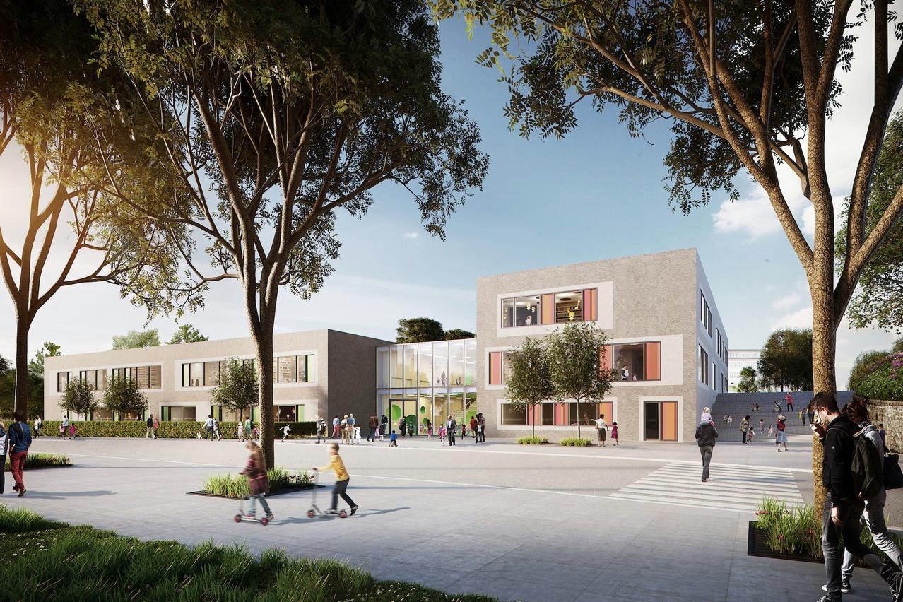 Un nouveau complexe scolaire est en construction à Leudelange. (Illustration: WW+ / Team 31)
