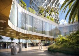 L'entrée de la tour KFAS est ouverte et transparente. ((Illustration: Metaform Architects))