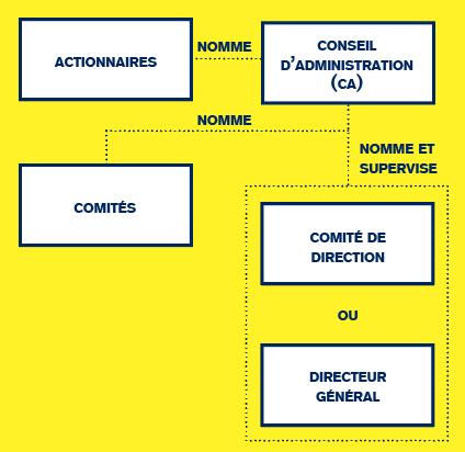 Le CA nomme des comités (rémunération, nomination, audit) parfois obligatoires, un comité de direction ou un directeur général (ou administrateur délégué s'il siège au CA). (Illustration: Maison Moderne)