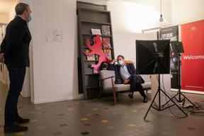 Matthieu Croissandeau, directeur éditorial, etXavier Bettel, Premier ministre ((Photo: Matic Zorman / Maison Moderne))