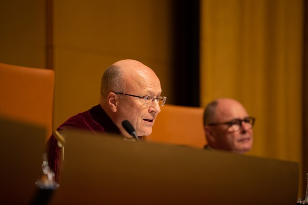 Le président de la Cour de justice, Koen Lenaerts, voit également son renouvellement de 2021 à 2027 acté par l'ordonnance de sa vice-présidente. (Photo: Romain Gamba/archives Maison Moderne)