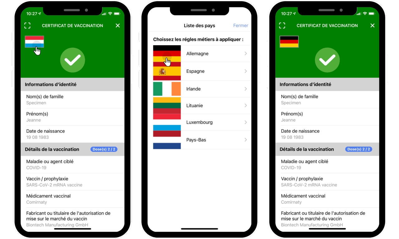 The CovidCheck application provides access to the health rules of other countries  Photo: ministry of digitalisation