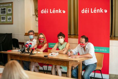 De gauche à droite: DavidWagner, MyriamCecchetti, NathalieOberweis et MarcBaum ont présenté, jeudi 22 juillet, le bilan parlementaire du parti déi Lénk. (Photo: Romain Gamba/Maison Moderne)