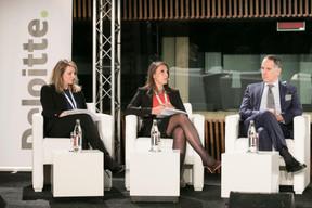 Dominique Lepagnot, Autorité des marchés financiers (AMF); Agathi Pafili (Capital Group); Furio Pietribiasi (Mediolanum Asset Management) ((Photo: Nelson Coelho / @nelsoncoelhofilms))