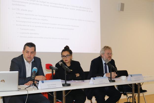 SylvainHoffmann, directeur, NoraBack, présidente, et Jean-ClaudeReding, vice-président de la CSL, ont présenté ce jeudi l'avis de la Chambre des salariés sur le projet de budget2020 du gouvernement. (Photo: Chambre des salariés)
