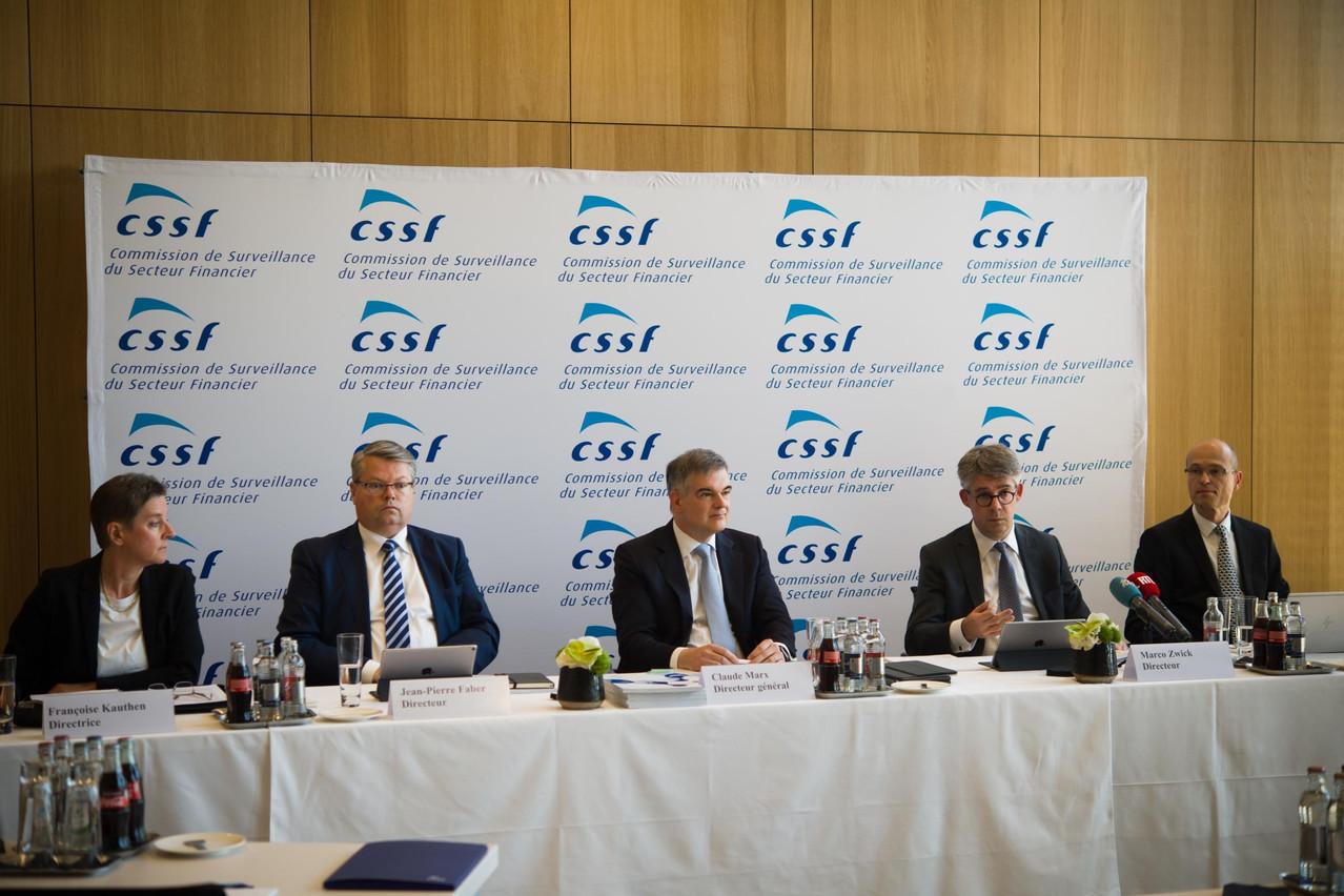La direction de la CSSF a présenté, ce jeudi, son rapport annuel pour l'année 2018. De gauche à droite: Françoise Kauthen, Jean-Pierre Faber, Claude Marx, Marco Zwick et Claude Wampach. (Photo: Nader Ghavami)