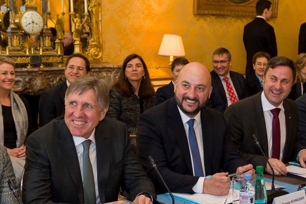 Entre François Bausch, Étienne Schneider et Xavier Bettel, l'entente reste solide et au beau fixe. (Photo: SIP/Jean-Christophe Verhaegen/Archives)