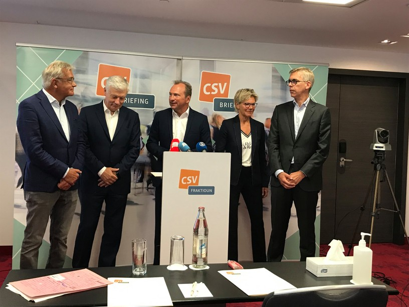 Laurent Mosar, Claude Wiseler, Gilles Roth, Martine Hansen and Léon Gloden were present at the CSV press conference on Thursday 16 September. Photo: Paperjam