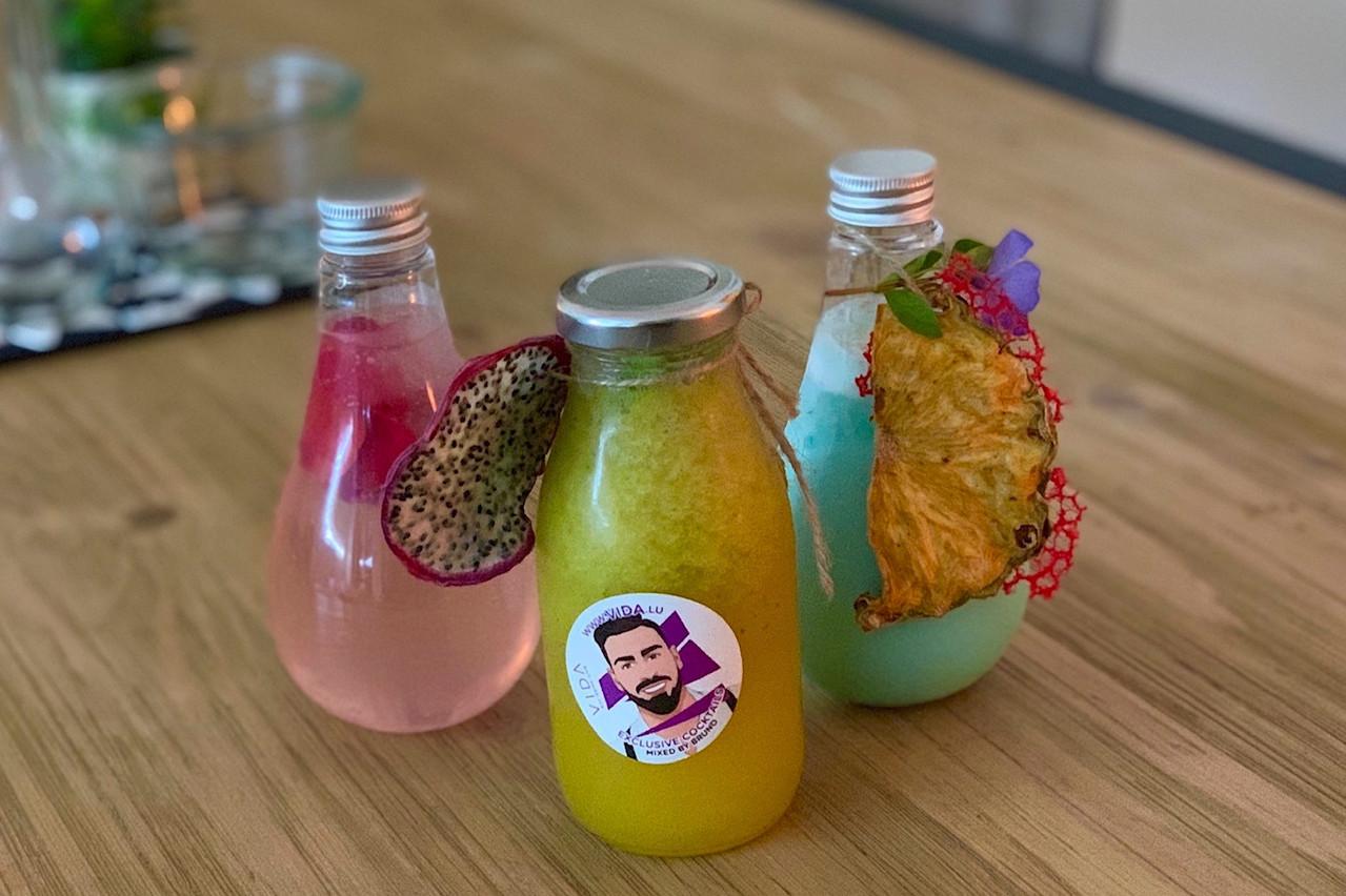 Des ampoules et plein de couleurs, c'est le concept de cocktails à emporter «Tipsy Bulbs» du restaurant Vida. (Photo: Maison Moderne)