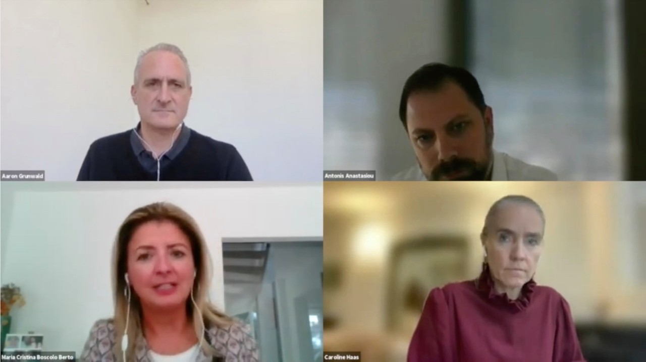 Antonis Anastasiou of Alter Domus, Maria Cristina Boscolo of Lombard and Caroline Haas of NatWest spoke with Delano's Aaron Grunwald during a British Chamber of Commerce for Luxembourg panel, 8 October 2021. Image: BCC/Youtube screengrab