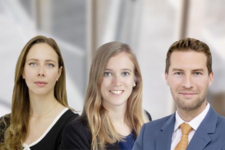 Aurore Boussemard, Helena Inghelram et Mathieu Voos ont rejoint la jeune antenne de Debevoise & Plimpton à Luxembourg. (Photo : Debevoise & Plimpton/montage Maison Moderne)