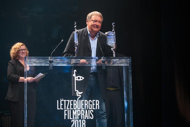 Pol Cruchten reçoit le prix du meilleur documentaire pour «La Supplication» lors du Lëtzbuerger Filmpräis en 2018. (Photo: Matic Zorman/Archives Paperjam)