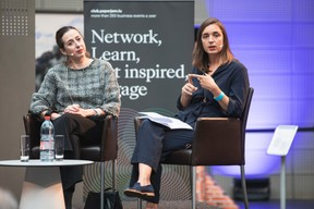 Claire Leblanc (Directrice-Conservatrice du Musée d'Ixelles) et Marie Melikov (Degroof Petercam) ((Photo: Simon Verjus/Maison Moderne))