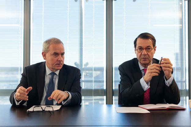 BrunoHoudmont (CEO Luxembourg) et BrunoColmant (CEO group) conviennent que la stratégie de Degroof Petercam n'est pas de rechercher des acquisitions stratégiques. (Photo: Matic Zorman)