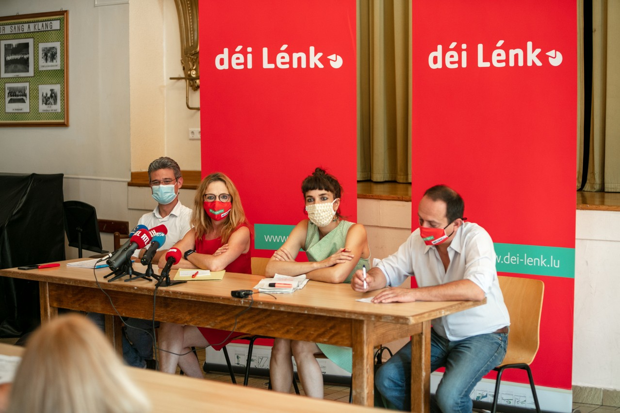 From left to right: David Wagner, Myriam Cecchetti, Nathalie Oberweis and Marc Baum presented the parliamentary balance sheet of the Déi Lénk party on Thursday 22 July. (Photo: Romain Gamba/Maison Moderne)