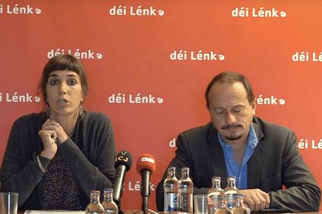 Nathalie Oberweis et Marc Baum (député), Déi Lénk. (Photo: Capture d'écran / Vidéo Déi Lénk)