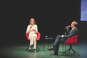 Taina Bofferding (Ministre de l'intérieur et Ministre de l'Égalité entre les femmes et les hommes) et Matthieu Croissandeau (Maison Moderne) ((Photo: Arthur Ranzy))